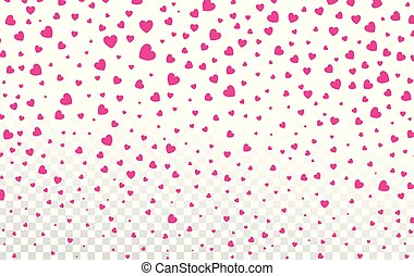 Pink hearts petals falling on white background for Valentine's Day