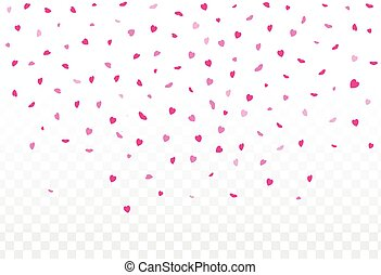 Pink hearts petals falling on white background for Valentine's Day,