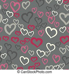 Pink hearts seamless vector tile. Valentines day background. Flat design endless chaotic texture made of tiny heart silhouettes