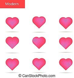 Pink hearts set. Bright hearts