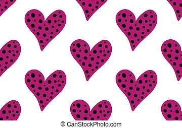 Pink hearts set for wedding and valentine design. Doodle vector illustrations isolated on white. Seamless hearts pattern.