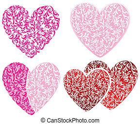 pink hearts set