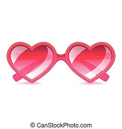 Pink hearts sunglasses isolated on white vector