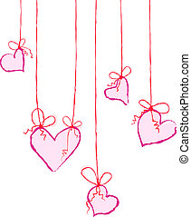pink hearts - Vector illustration of pink hearts hanging on...