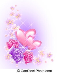 Pink hearts with flowers - Pink hearts with roses and stars