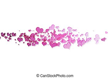 Pink hearts with white background
