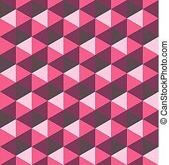 Pink hexagonal pyramids. Seamless vector pattern background. 3D relief