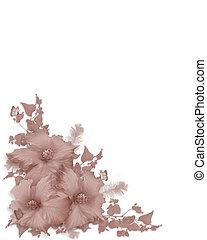 Pink Hibiscus invitation corner