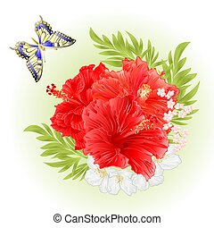 Pink hibiscus tropical flowers with jasmine vector