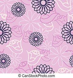Pink Hidden Flower seamless pattern background.