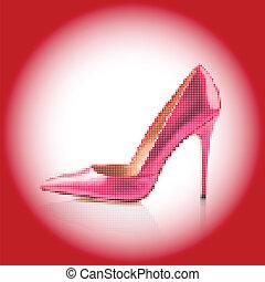 Pink high heel shoe