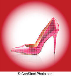 Pink high heel shoe