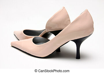 Pink High Heels - A Pair of Pink High Heel Shoes against a...