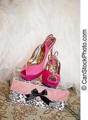 Pink High Heels and a Wedding Dress
