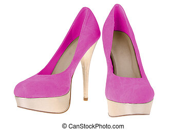 Pink high heels, isolated on white background.