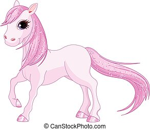 Pink Horse - Illustration of magic pink horse