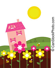 Pink house behind spring flowers