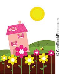 Pink house behind spring flowers