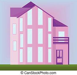 Pink house facade vector modern architecture building