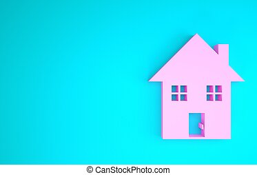 Pink House icon isolated on blue background. Home symbol. Minimalism concept. 3d illustration 3D render