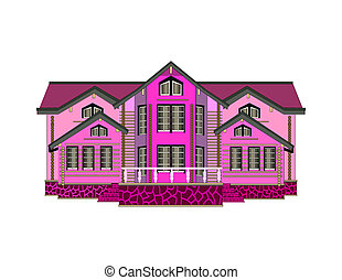 Pink house icon on white background