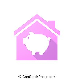 Pink house icon with a pig