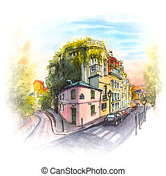 Pink house, Montmartre, Paris, France