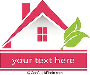 Pink house realty logo - Vector house leafs logo card design...