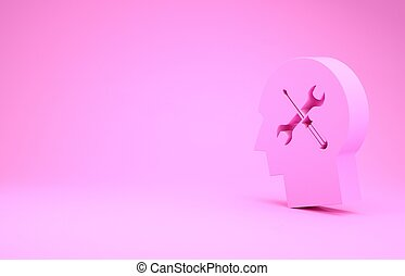 Pink Human head with with screwdriver and wrench icon isolated on pink background. Artificial intelligence. Symbol work of brain. Minimalism concept. 3d illustration 3D render