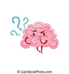 Pink humanized brain with pensive face expression. Human organ. Cartoon character. Flat vector for mobile app or social network