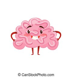 Pink humanized brain with smiling face, little arms and legs. Human organ. Funny cartoon character. Flat vector icon
