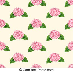 Pink Hydrangea Flower Seamless on Beige Ivory Background