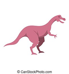 Pink hypsilophodon dinosaur icon isolated