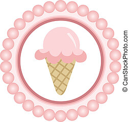 Pink Ice Cream Cone Round Label - Scalable vectorial image...
