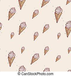 pink ice cream Hand drawn sketch on pink background....