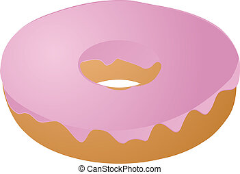 Pink icing covered donut vector isometric illustration