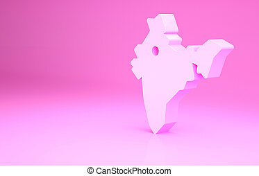 Pink India map icon isolated on pink background. Minimalism concept. 3d illustration 3D render