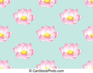 Pink Indian Lotus on Light Blue Background