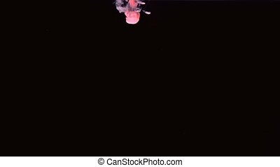 Pink ink dropping in water on black