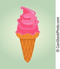 Pink isolated ice cream icon. Vector flat cartoon illustration