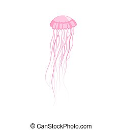 Pink Jellyfish Floating in Space