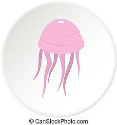 Pink jellyfish icon circle