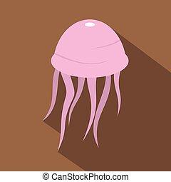 Pink jellyfish icon, flat style