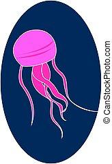 Pink jellyfish underwater, illustration, vector on white background.