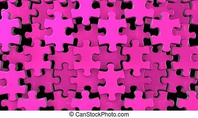 Pink jigsaw puzzle on black background. 3DCG render...