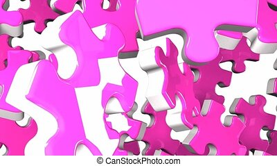 Pink jigsaw puzzle on white background. 3DCG render...