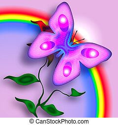 Pink Tender Butterfly on the Flower enjoing the Rainbow over Pink Background