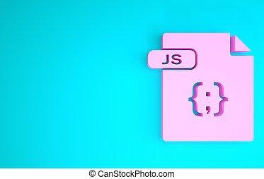 Pink JS file document. Download js button icon isolated on blue background. JS file symbol. Minimalism concept. 3d illustration 3D render