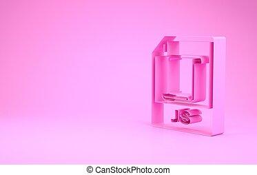 Pink JS file document. Download js button icon isolated on pink background. JS file symbol. Minimalism concept. 3d illustration 3D render