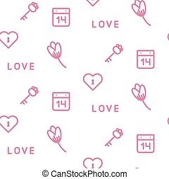 Pink keys and flowers seamless vector pattern on white. Romantic valentine wrap paper design.